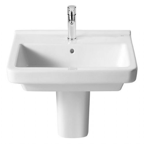 Roca Dama-N Square Basin With Semi Pedestal - 550mm - 1 Tap Hole - White